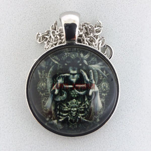 Baphomet Priest Occult Glass Cabochon Necklace